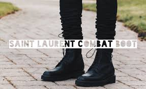biker style mens boots a closer look at saint laurent paris combat boot on feet youtube