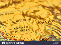 China On Map by Tibetan Plateau In China On The World Map Stock Photo Royalty