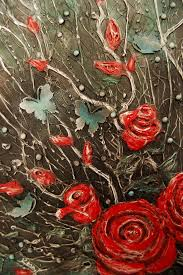 75 roses and butterflies acrylic painting