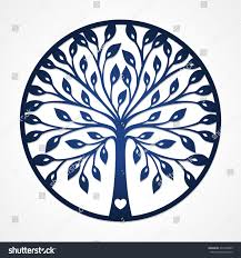 abstract round frame cutout tree silhouette stock vector 294138599