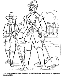 pilgrims coloring pages mayflower plymouth rock