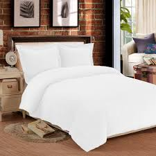 ntbay 3 pieces flannel duvet cover set queen white