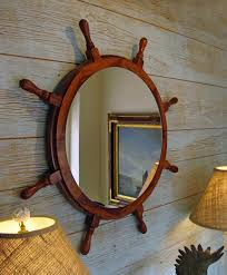 nautical interior teak ship u0027s wheel nautical mirror skipjack nautical wares