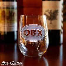 classic barware classic oval monogram stemless wine glass bar and bistro