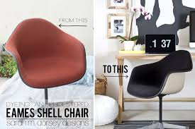 sarah m dorsey designs dyeing an upholstered eames shell chair