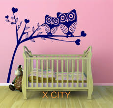 online get cheap owl wall vinyl trees aliexpress com alibaba group owl tree hearts cute scenery vinyl wall decal art sticker for children kids baby room stencil