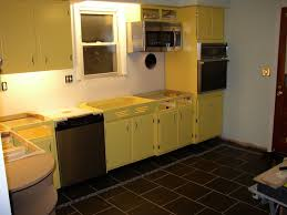 Yellow And White Kitchen Cabinets Kitchen Beauteous Kitchen Decoration Using Yellow 1960s Kitchen