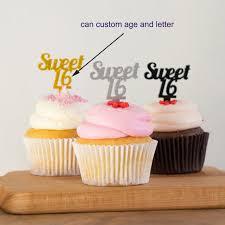 sweet 16 cake topper gold silver black glitter sweet 16 cup cake topper girl s