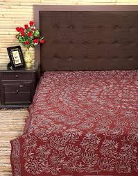 bedspread indian style cotton coffee embroidered home decor