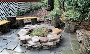 rustic patio ideas backyard stone patio with fire pit ideas
