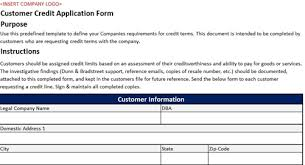 application template for customer credit sample of business excel