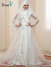 islamic wedding dresses sheer sleeve muslim wedding dresses 2017 high neck