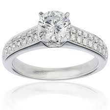 diamond rings solitaire images 2 row pave set solitaire diamond ring 0 30ct g i1 in 4 prong setting jpg