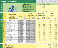 Hvac Residential Load Calculation Worksheet by Right J Acca Manual J Load Calculation Software
