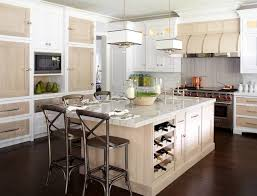 Cabinets For Kitchen Island by Unique Two Tone Kitchen White Cabinets Stained Doors U0026 Island