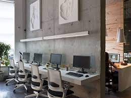 floating desk design office decor industrial office design idea with concrete wall