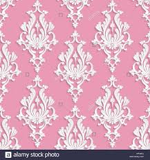 seamless backdrop vector damask seamless background with 3d floral pattern pink