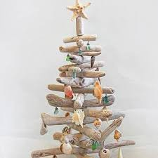 driftwood christmas tree with seashell ornaments christmas xmas