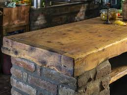 Wood Tops For Kitchen Islands Barn Wooden Top Rustic Kitchen Island With Brick Base Panel Also