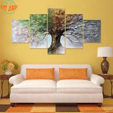 compare prices on 4 seasons tree online shopping buy low price 4 4 piece set or 5 piece set canvas art four season tree hd canvas