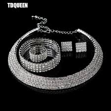 accessories ring necklace images Tdqueen crystal bridal jewelry set classic circle 4 rows dubai jpg