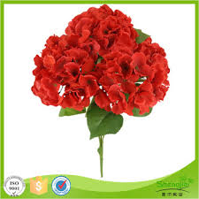 Artificial Flower Bouquets Wholesale Price Silk Artificial Dried Flower Red Latex Hydrangea