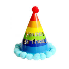 happy birthday hat birthday rainbow party hat blue pom pom