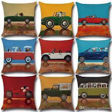 pure home decor lovely cartoon dog driving vintage car cushion cover decoratives