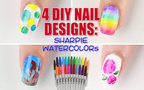 4 ways to diy sharpie watercolor nail art youtube