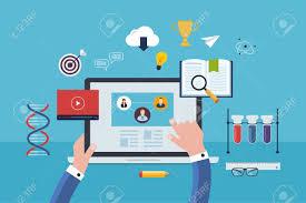 design online education flat design modern vector illustration icons set of online education