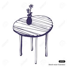 drawing of flower vase on a table hand drawn beautiful table and