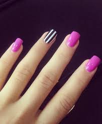 one black and white strip pink nail design for prom white strips