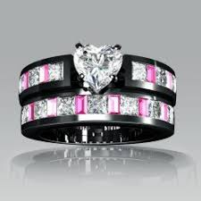 black and pink wedding ring sets 1 ring white heart cubic zirconia black engagement ring wedding