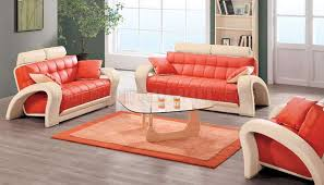 Orange Living Room Set Contemporary Orange Beige Bonded Leather 7030 Living Room Sofa