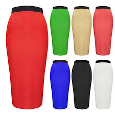 womens plus size block colour stretch pencil skirt black red navy