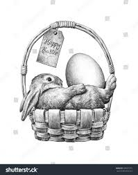easter bunny eggs wicker basket pencil stock illustration