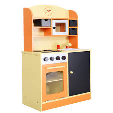 costway wood kitchen toy kids cooking pretend play set toddler