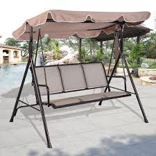 amazon com giantex 3 person outdoor patio swing canopy awning