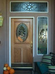 exterior wooden door with stained glass panels for small and