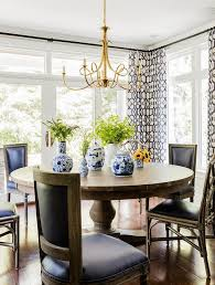 Dining Room Chandeliers Transitional Round Dining Table And Black French Dining Chairs With Double