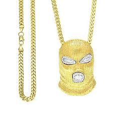gold pendant chain necklace images Balaclava mask alloy crystal pendant chain necklace gold iced jpg