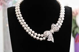 pearl bow necklace images Bow pendant double stranded swarovski pearl choker necklace sdg JPG