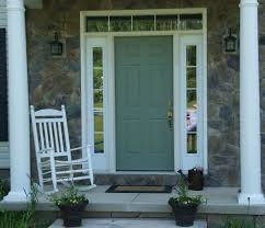 colonial style green painted oak wood front door with mirrored