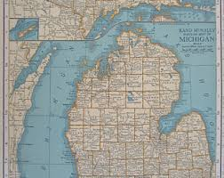 up michigan map peninsula map etsy