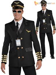 adults mens captain wingman 1960s pilot fancy dress halloween