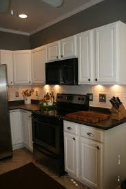 kitchens with white cabinets and black appliances kitchen