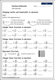 Worksheet On Converting Decimals To Fractions Changing Tenths And Hundredths To Decimals Mathematics Skills