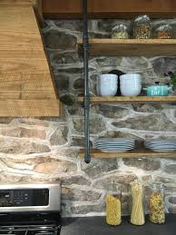 farmhouse kitchen exposed stone backsplash stone house revival
