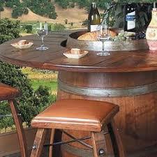 Wine Barrel Bar Table Reclaimed Wine Barrels Made Into Table U0026 Bar Stools Would Be