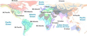 map world seas drainage basins of the principal oceans and seas of the world